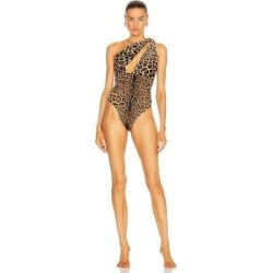 One Shoulder One Piece Swimsuit - Brown - Saint Laurent Beachwear found on Bargain Bro India from lyst.com for $890.00