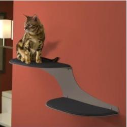 The Refined Feline Cat Clouds Wall Mounted Cat Wall Shelf, Left-Facing, Titanium