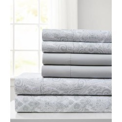 Spirit Linen Home Sheet Sets Light - Light Gray Jeweled Paisley Six-Piece Microfiber Sheet Set found on Bargain Bro Philippines from zulily.com for $17.99