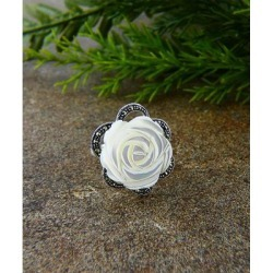 Vera & Co. Women's Rings - Marcasite & Mother of Pearl Carved Rose Ring found on MODAPINS from zulily.com for USD $26.99