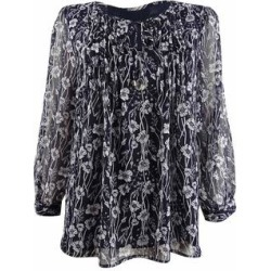 Tommy Hilfiger Women's Pintucked Printed Blouse (M, Sky Captain Combo) found on Bargain Bro from Overstock for USD $30.39