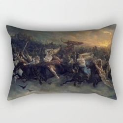 Rectangular Pillow   Peter Nicolai Arbo The Wild Hunt Of Odin Restored by Colorfuldesigns - Small (17