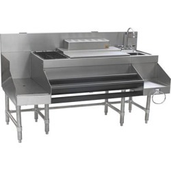 """Eagle Group CCS-66-3 Spec-Bar 66"""" Stainless Steel Combination Cocktail Station with 18"""" Recessed Workboard"""
