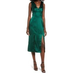 Bow Shoulder Satin Midi Dress - Green - Chi Chi London Dresses found on MODAPINS from lyst.com for USD $69.00