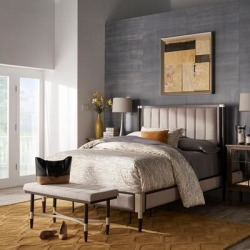 Sierra Beige Fabric Queen Bed, Bench or Set by iNSPIRE Q Modern found on Bargain Bro from Overstock for USD $447.63