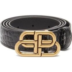 Bb-plaque Crocodile-effect Leather Belt - Black - Balenciaga Belts found on Bargain Bro from lyst.com for USD $342.00