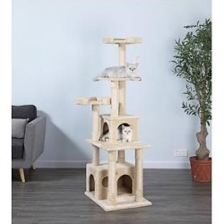 Go Pet Club 67-in Faux Fur Cat Tree & Condo, Beige found on Bargain Bro India from Chewy.com for $81.36