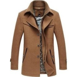 New Thicken Lapel Fashion Casual Men's Woolen Coat (Camel - 4XL), Brown found on Bargain Bro from Overstock for USD $227.18