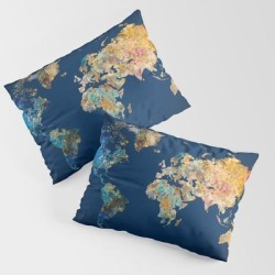 World Map 11 King Size Pillow Sham by World Map - STANDARD SET OF 2 - Cotton
