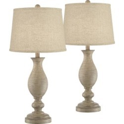 Serena Beige Gray Wood Finish Burlap Linen Table Lamps Set of 2 found on Bargain Bro Philippines from LAMPS PLUS for $149.99