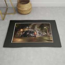 Modern Throw Rug | Inspecting With Lantern. Light Streak. Up 4014. Union Pacific. Steam Train. Big Boy. (c) J. Montague. by J&s Montague ( Outofthemists ) - 2' x 3' - Society6 found on Bargain Bro Philippines from Society6 for $39.20