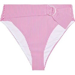 Anais Belted Striped Stretch-seersucker High-rise Bikini Briefs Fuchsia - Purple - Onia Beachwear found on MODAPINS from lyst.com for USD $60.00