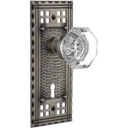 Nostalgic Warehouse Clear Crystal Waldorf Privacy Door Knob w/ Keyhole Craftsman Long PlateGlass in Gray, Size 6.75 H x 3.0 W in   Wayfair 715703 found on Bargain Bro Philippines from Wayfair for $150.13