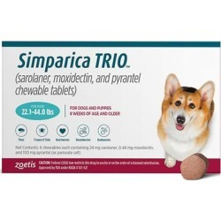Simparica Trio For Dogs 22.1-44 Lbs (Teal) 3 Chews found on Bargain Bro Philippines from Canadapetcare.com for $75.59