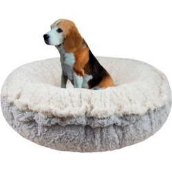 Bessie and Barnie Serenity Grey/Serenity Ivory Luxury Shag Ultra Plush Faux Fur Pet Bagelette Bed, 36