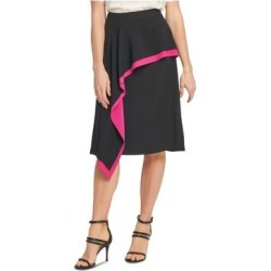 DKNY Womens Black Ruffled Solid Below The Knee A-Line Skirt Size 10 (Black - 10), Women's(knit) found on Bargain Bro from Overstock for USD $15.22