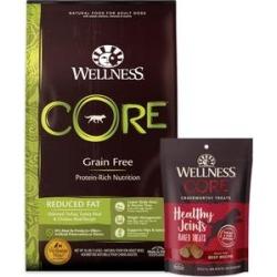Wellness CORE Grain-Free Reduced Fat Formula Dry Dog Food, 26-lb bag + Wellness CORE Grain-Free Marrow Roasts Hearty Beef Recipe Dog Treats, 8-oz bag