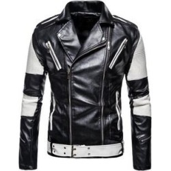 Men's Faux Leather Zipper Lape Motorcycle Jacket (White - 3XL) found on Bargain Bro Philippines from Overstock for $102.42