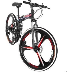 Wall-Ah! 26In Folding Mountain Bike Shimanos 21 Speed Bicycle Full Suspension MTB Bikes, Size 27.5 H x 9.8 W x 59.0 D in | Wayfair found on Bargain Bro Philippines from Wayfair for $279.99