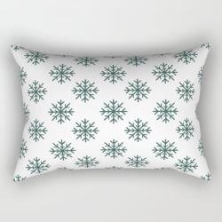 Rectangular Pillow   Snowflakes (dark Green & White Pattern) by Lxlbx8 - Small (17