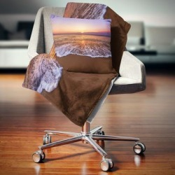 Designart 'Orange Tinged Sea Waters at Sunset' Beach Photo Throw Blanket found on Bargain Bro from Overstock for USD $51.35