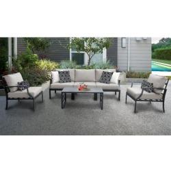 Lexington 6 Piece Outdoor Aluminum Patio Furniture Set 06r in Ash - TK Classics Lexington-06R