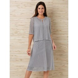 Haband Womens Lace Jacket & Dress Set, Summer Grey, Size XL Misses Average, A found on Bargain Bro Philippines from Haband for $29.99