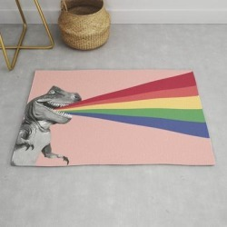 Modern Throw Rug | T-rex Rainbow Ray Blast In Pink by Big Nose Work - 2' x 3' - Society6