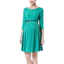 MOMO Maternity Women's Career Dresses Emerald - Emerald Belted Shannon Maternity Dress found on Bargain Bro from zulily.com for USD $12.91