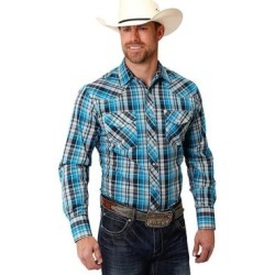 Roper Western Shirt Mens Plaid L/S Snap Turquoise (XL), Men's, Blue(cotton) found on Bargain Bro India from Overstock for $40.44
