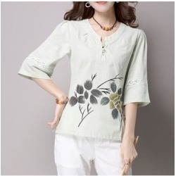 Han Chinese Clothing Improved Cotton&Flax Top Wear Light Green M found on Bargain Bro from Overstock for USD $24.11