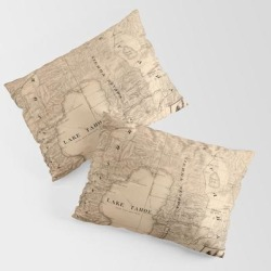 King Size Pillow Sham | Map Of Lake Tahoe 1874 by Vintage Maps & Prints - STANDARD SET OF 2 - Cotton - Society6 found on Bargain Bro from Society6 for USD $30.39