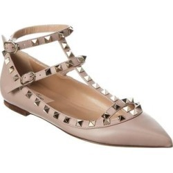 Valentino Rockstud Caged Leather Ankle Strap Ballet Flat (37.5), Women's, Beige found on Bargain Bro Philippines from Overstock for $868.99