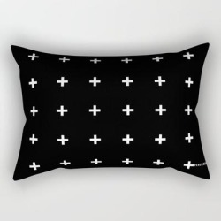"White Plus On Black /// Pencilmeinstationery.com Rectangular Pillow by Pencil Me In - Small (17"" x 12"")"