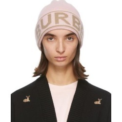 Pink Cashmere Logo Beanie - Pink - Burberry Hats found on Bargain Bro from lyst.com for USD $182.40