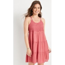 Maurices Womens Pink Floral Crochet Babydoll Swing Dress - Size Medium found on Bargain Bro from Maurices for USD $26.52