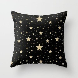 Couch Throw Pillow | Gold Stars Pattern Black by Juno San - Cover (16