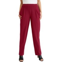 Plus Size Women's Knit Crepe Straight Leg Pants by Jessica London in Rich Burgundy (Size 26 W) found on Bargain Bro Philippines from Ellos for $39.99