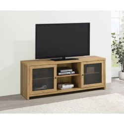 Brayden Golden Oak and Gunmetal Mesh Doors TV Console - 59 inches in width found on Bargain Bro Philippines from Overstock for $337.99