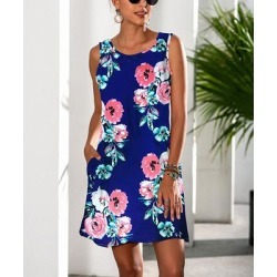 Camisa Women's Casual Dresses Navy - Navy & Pink Floral Pocket Sleeveless Dress - Women found on Bargain Bro from zulily.com for USD $12.91