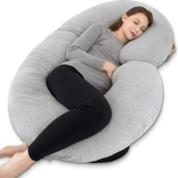 Pregnancy Pillow,Maternity Body Pillow for Pregnant Women,C Shaped Full Body Pillow with Zippers Jersey Cover