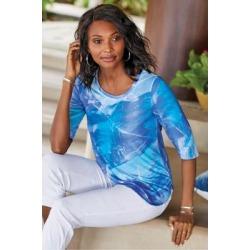 Women's Ilka 3/4 Sleeve T-shirt by Soft Surroundings, in Washed Aqua size XS (2-4)