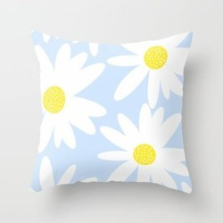 """Beautiful White Retro Daisy Flowers Pastel Blue Background #decor #society6 #buyart Couch Throw Pillow by Pa$?ivi VikstraPm - Cover (16"""" x 16"""") with pillow insert - Indoor Pillow"""