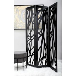 "Traditional 72 X 48 Inch 3-Panel Branch Wooden Screen by Studio 350 (WOOD 3 PANEL SCREEN 72""H, 48""W), Black"