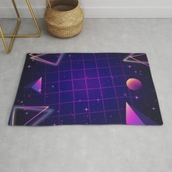 Universe Future Synthwave Aesthetic Modern Throw Rug by Edmproject - 2' x 3'
