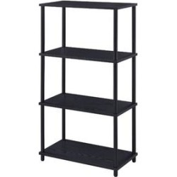 Q-Max Rustic Wooden Shelves And Black-Finished Metal Frame Bookshelf found on Bargain Bro from Overstock for USD $96.89