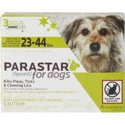Parastar Flea & Tick Spot Treatment for Dogs, 23-44 lbs, 3 Doses (3-mos. supply) found on Bargain Bro India from Chewy.com for $22.99