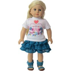American Fashion World Doll Clothing - Teal Love Birds Lace Outfit for 18'' Doll found on Bargain Bro Philippines from zulily.com for $7.99