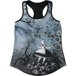 Disney Juniors' Alice In Wonderland Gothic Falling Racerback Muscle Tank Top (2X), Women's, Black