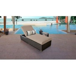 Barbados Chaise Outdoor Wicker Patio Furniture w/ Side Table in Wheat - TK Classics Barbados-1X-St